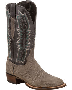 Lucchese Men's Handmade Hunter Charcoal/Black Sueded Sheep Horseman Western Boots - Square Toe, Grey, hi-res