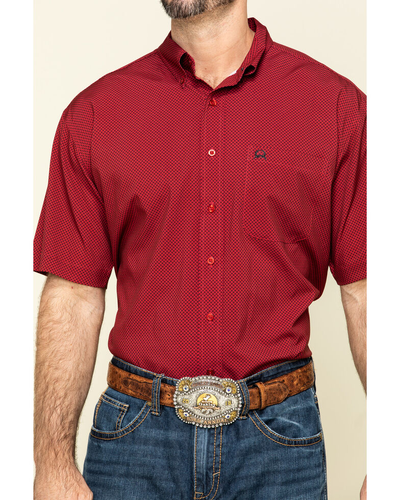Cinch Men's Arena Flex Red Small Geo Print Short Sleeve Western Shirt , Red, hi-res