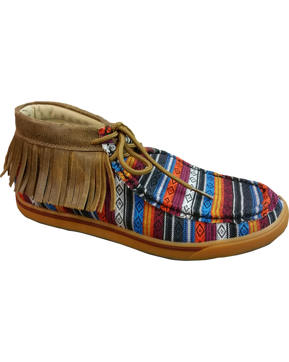 Twisted X Women's Serape Fringe Driving Moccasins - Round Toe , Multi, hi-res