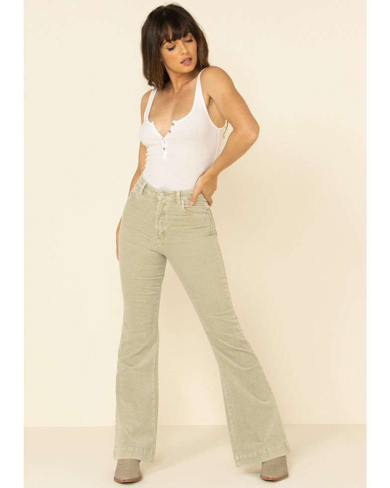 Rolla's Women's Seagrass Eastcoast Corduroy Flare Jeans, Light Green, hi-res