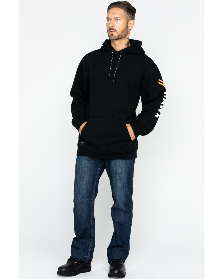 Hawx Men's Logo Sleeve Hooded Work Sweatshirt - Big , Black, hi-res