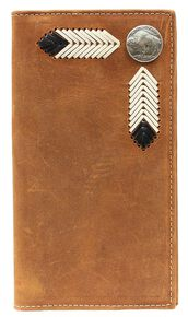 Nocona Leather Laced Buffalo Nickel Rodeo Wallet, Med Brown, hi-res