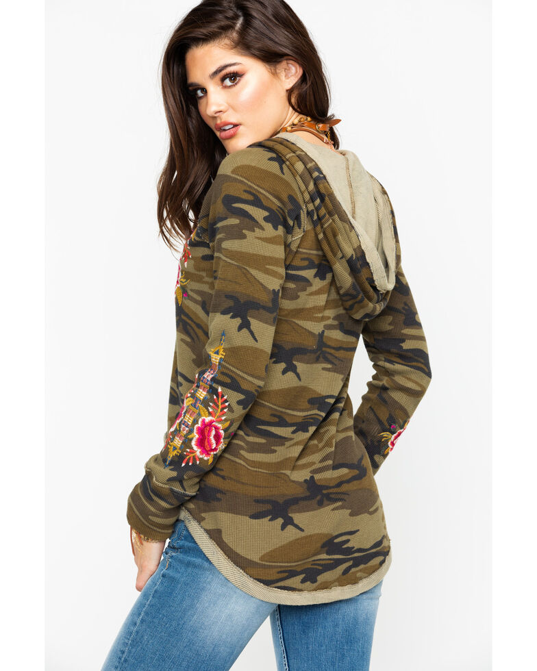 Johnny Was Women's Axton Thermal Hoodie, Camouflage, hi-res