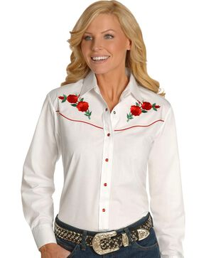 Ely Embroidered Red Roses Vintage Western Cowboy Shirt, White, hi-res