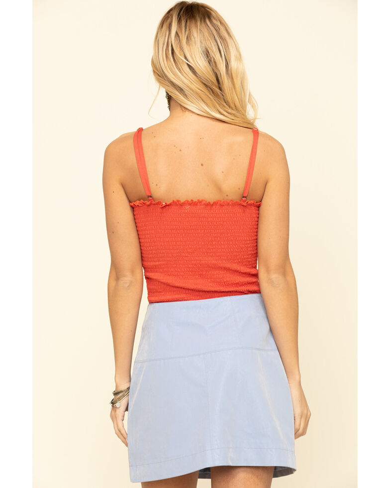 Others Follow Women's Red Smocked Goldie Top, Red, hi-res