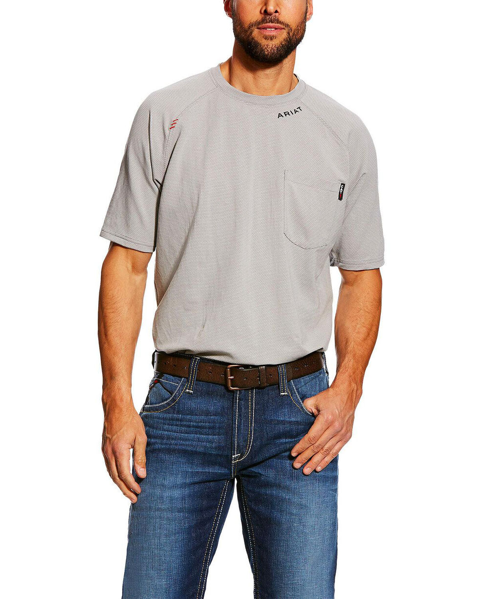 Ariat Men's FR Silver Fox Base Layer Short Sleeve Work Shirt - Tall , Grey, hi-res