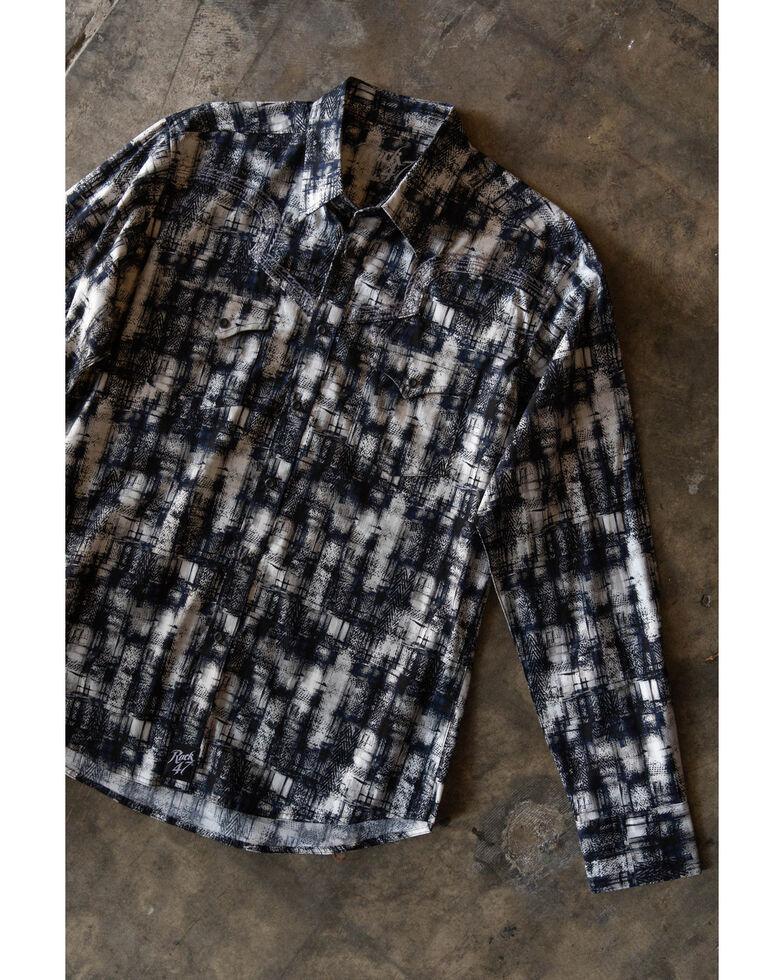 Rock 47 By Wrangler Men's Grey Painted Print Long Sleeve Western Shirt , Grey, hi-res