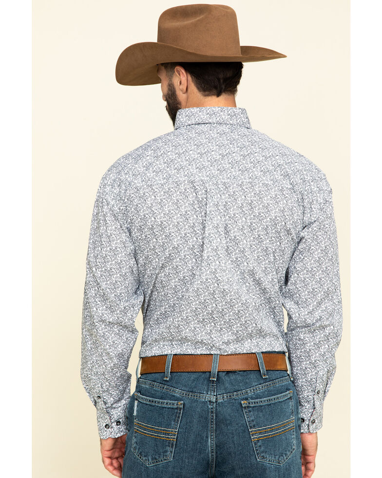 George Strait by Wrangler Men's Red Small Paisley Print Long Sleeve Western Shirt - Tall, Red, hi-res
