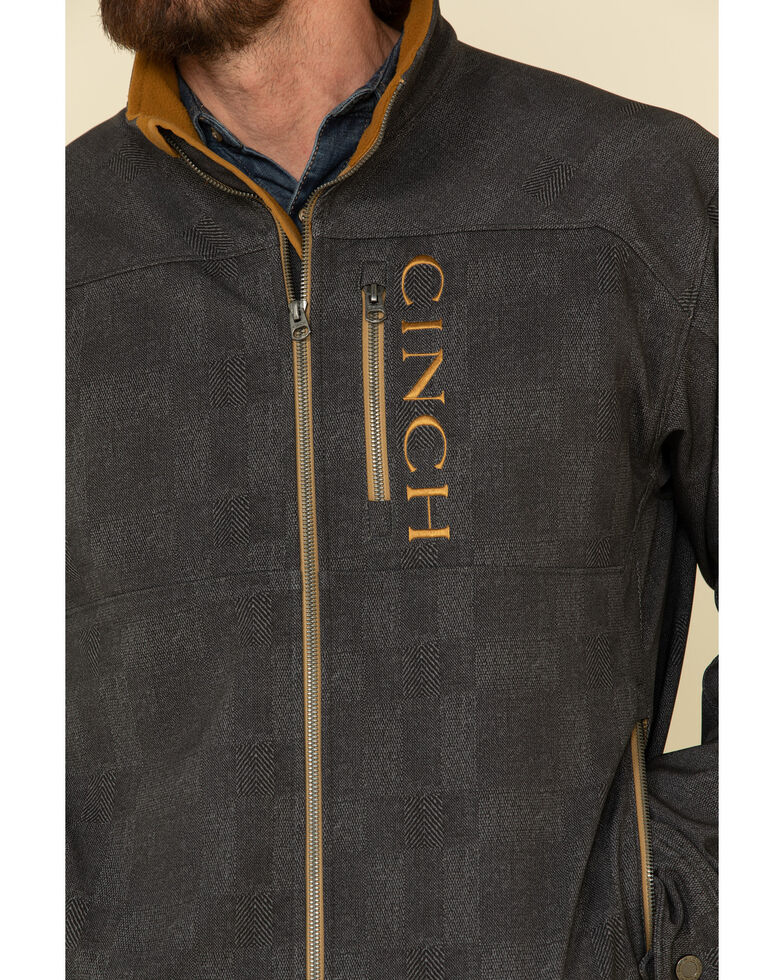 Cinch Men's Charcoal Solid Logo Textured Bonded Jacket - Big , Charcoal, hi-res