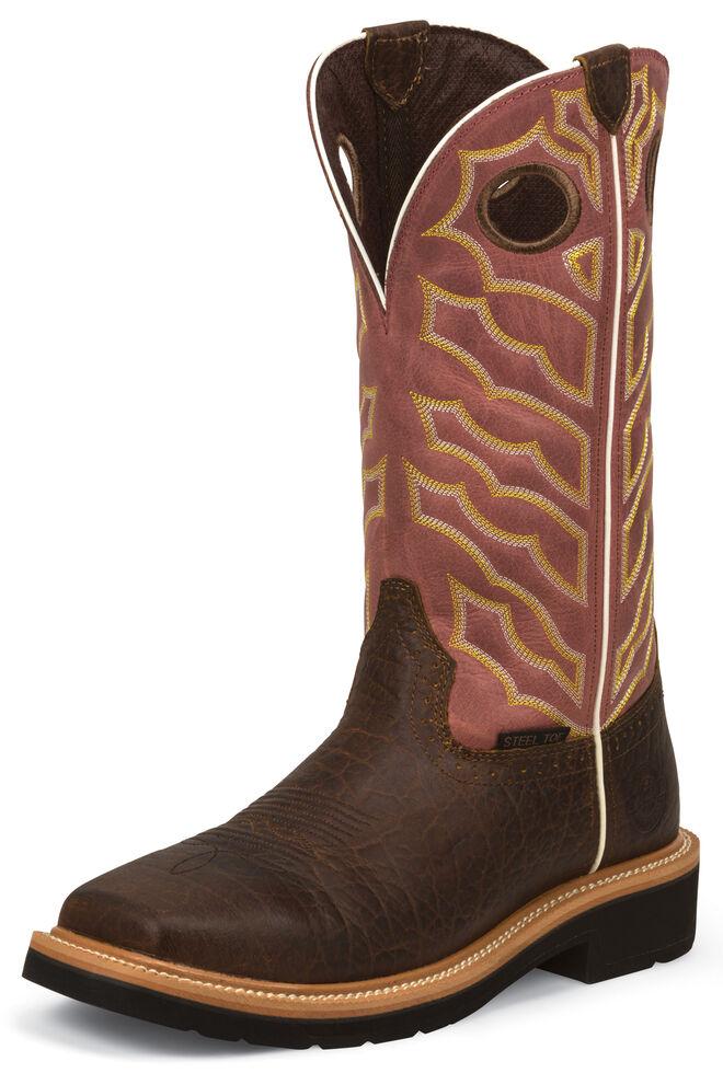 Justin Men's Stampede Chestnut Negotiator Work Boots - Steel Toe, Chestnut, hi-res