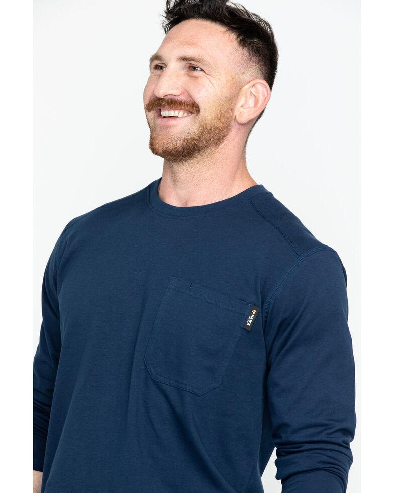 Hawx Men's Navy Logo Crew Long Sleeve Work T-Shirt - Big , Navy, hi-res