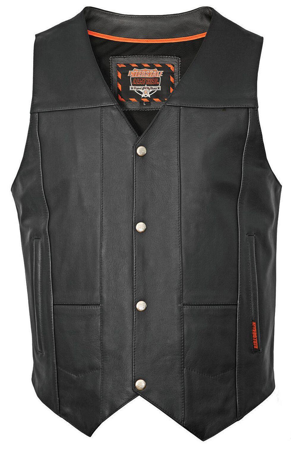 Interstate Leather Multiple Pocket Vest - XL, Black, hi-res