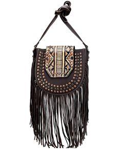 Montana West Women's Aztec Fringe Crossbody Bag, Coffee, hi-res