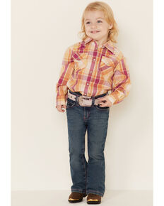 Shyanne Toddler Girls' Pink Plaid Embroidered Horse Long Sleeve Western Core Shirt , Fuscia, hi-res