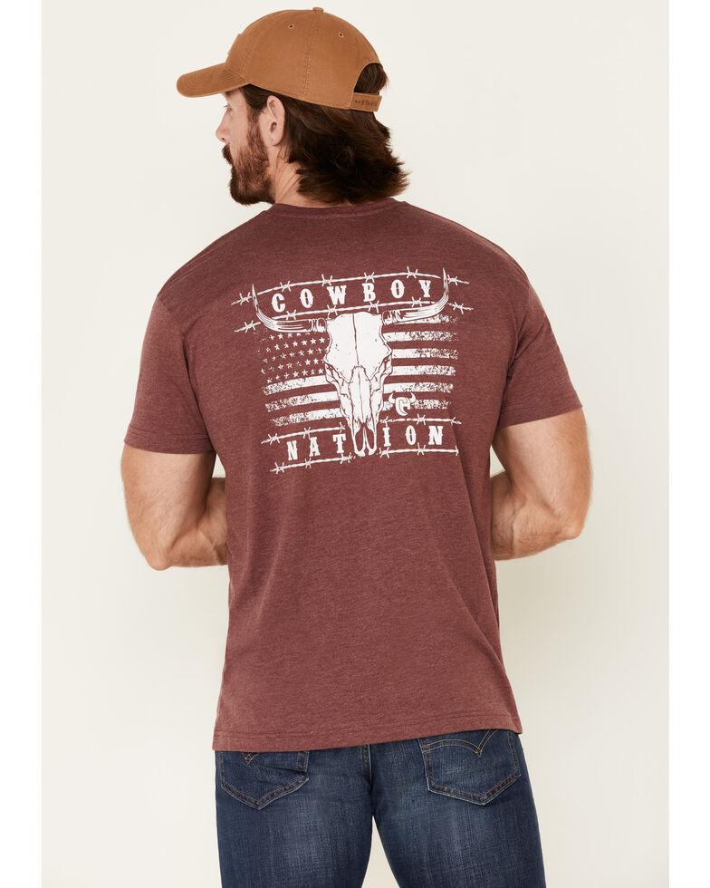 Cowboy Hardware Men's Burgundy Cowboy Nation Flag Skull Graphic T-Shirt , Burgundy, hi-res