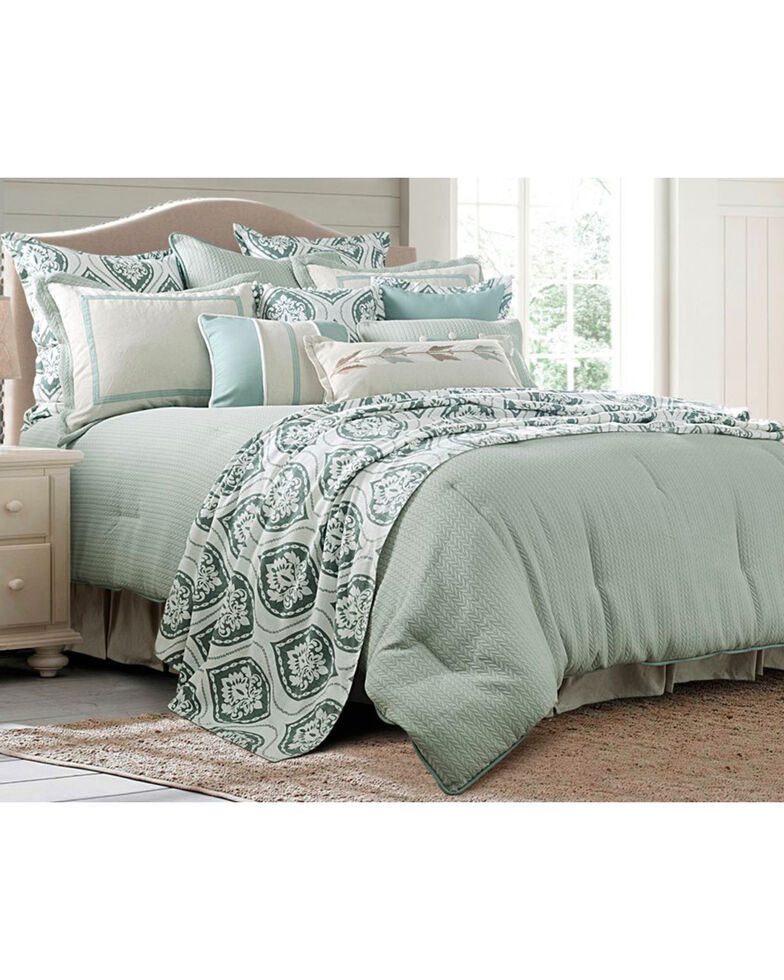 HiEnd Accents Green 4 Piece Belmont Comforter Set - Super Queen , Green, hi-res