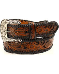 Ariat Men's Genuine Leather Embossed Floral Belt, Black, hi-res