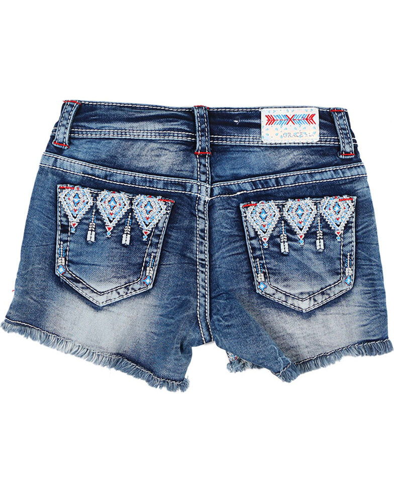 Grace in LA Girl's Blue Aztec Embroidered Shorts , Blue, hi-res