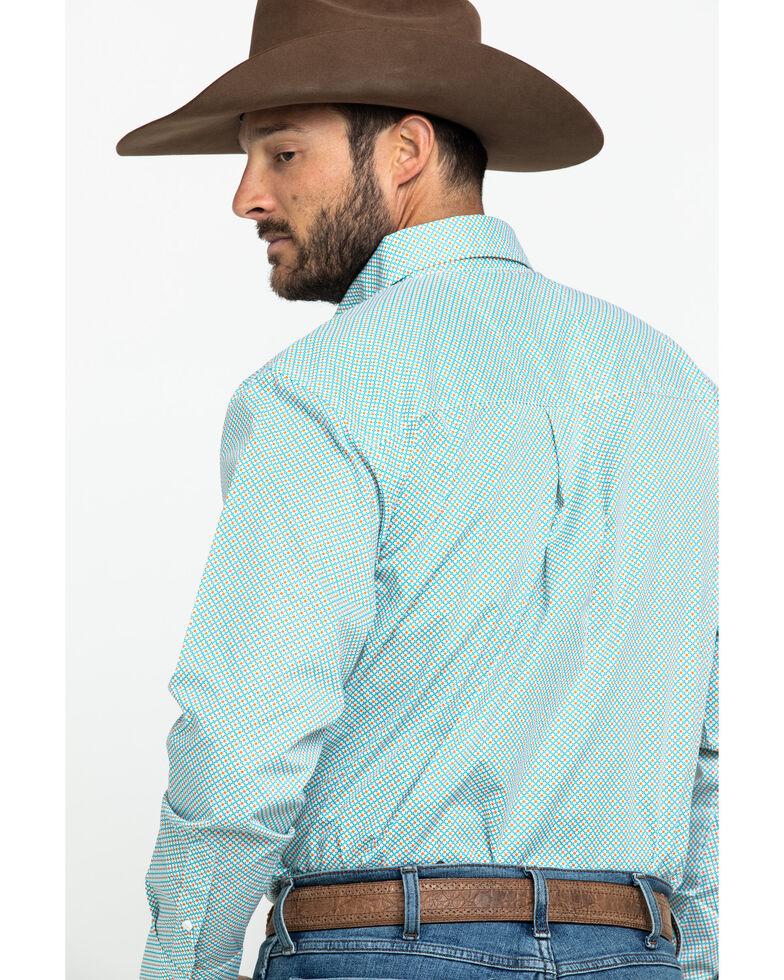 Wrangler Men's Classic Teal Geo Print Long Sleeve Western Shirt , Teal, hi-res