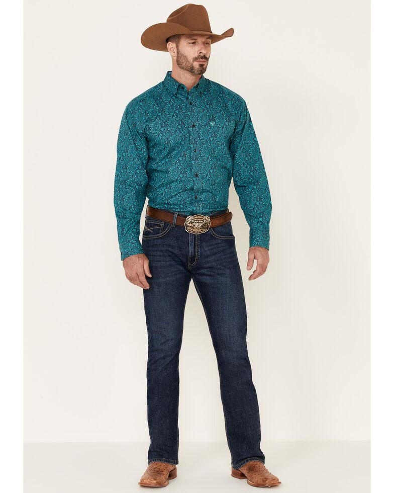 Ariat Men's Wrinkle Free Blue Eamon Paisley Print Long Sleeve Western Shirt - Big & Tall , Blue, hi-res