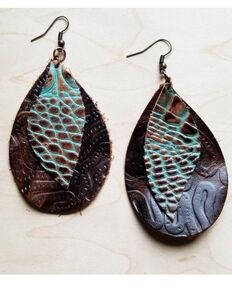 Jewelry Junkie Women's Embossed Gator Print Leather Earrings , Multi, hi-res