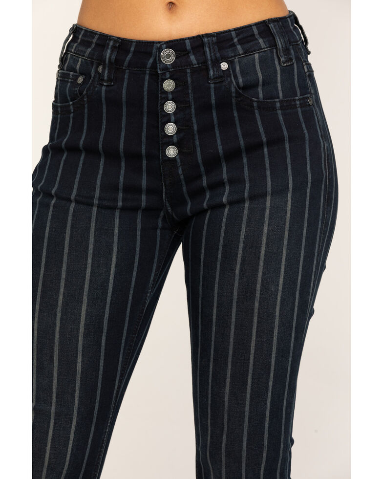 Rock & Roll Cowgirl Women's Stripe Flare High Rise Jeans , Black, hi-res