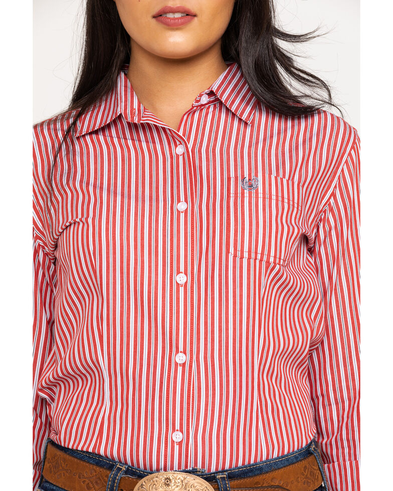 Rough Stock by Panhandle Women's Rust Stripe Button Long Sleeve Western Shirt, Rust Copper, hi-res
