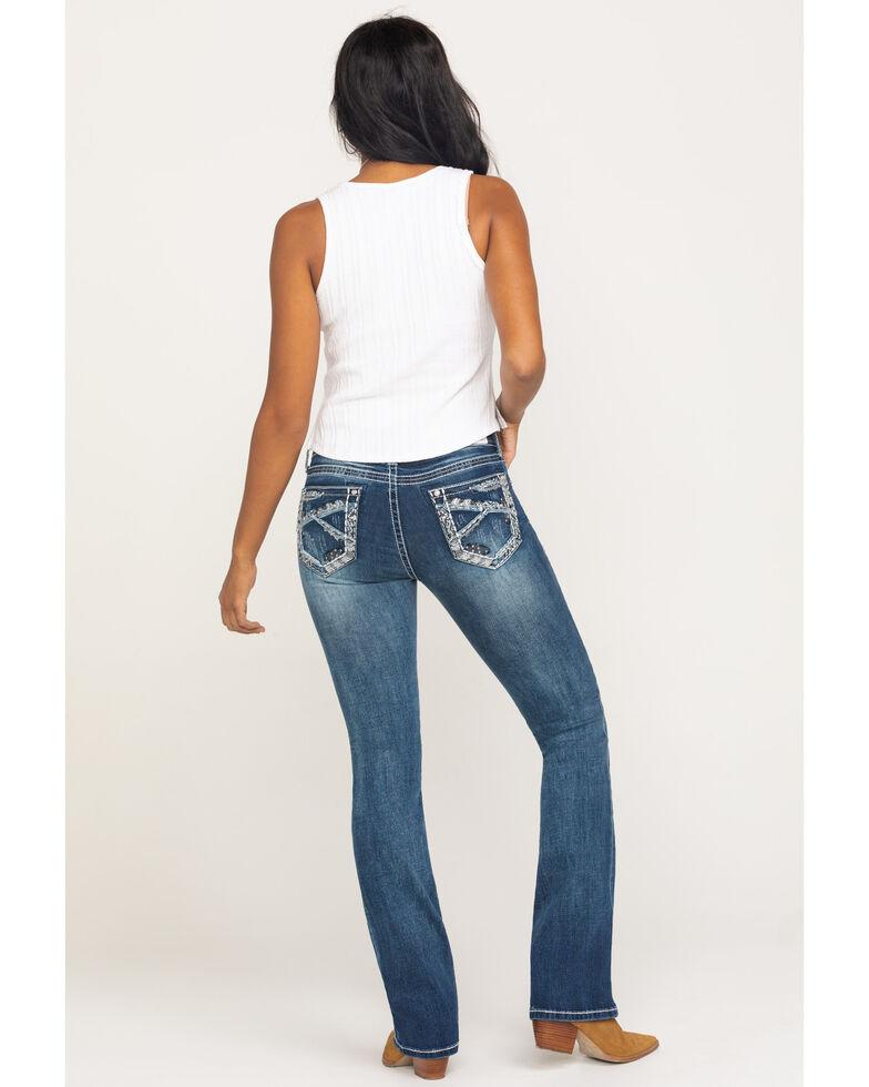 Grace in LA Women's Medium Deco Pocket Bootcut Jeans, Blue, hi-res