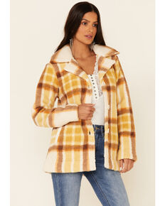 Idyllwind Women's Stay Cozy Plaid Button-Front Fleece Jacket , Yellow, hi-res