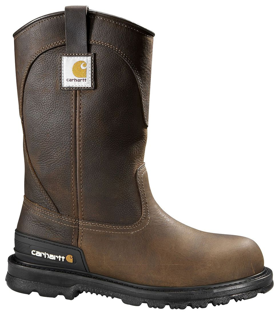 Carhartt Unlined Wellington Pull-On Work Boots - Round Toe, Dark Brown, hi-res