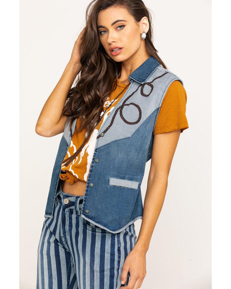 Tasha Polizzi Women's Indigo Cowboy Vest, Blue, hi-res