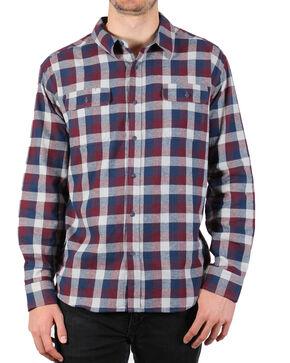 American Worker Men's Plaid Tasked Flannel Shirt , Burgundy, hi-res