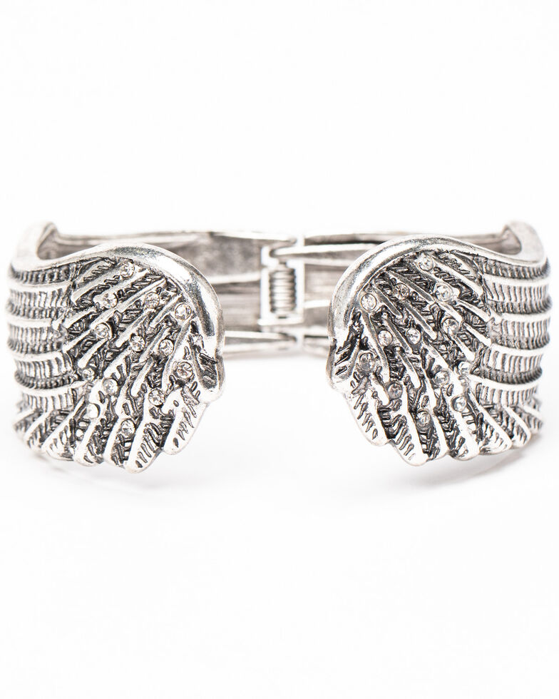 Shyanne Women's Sparkle N' Spice Wing Cuff, Silver, hi-res