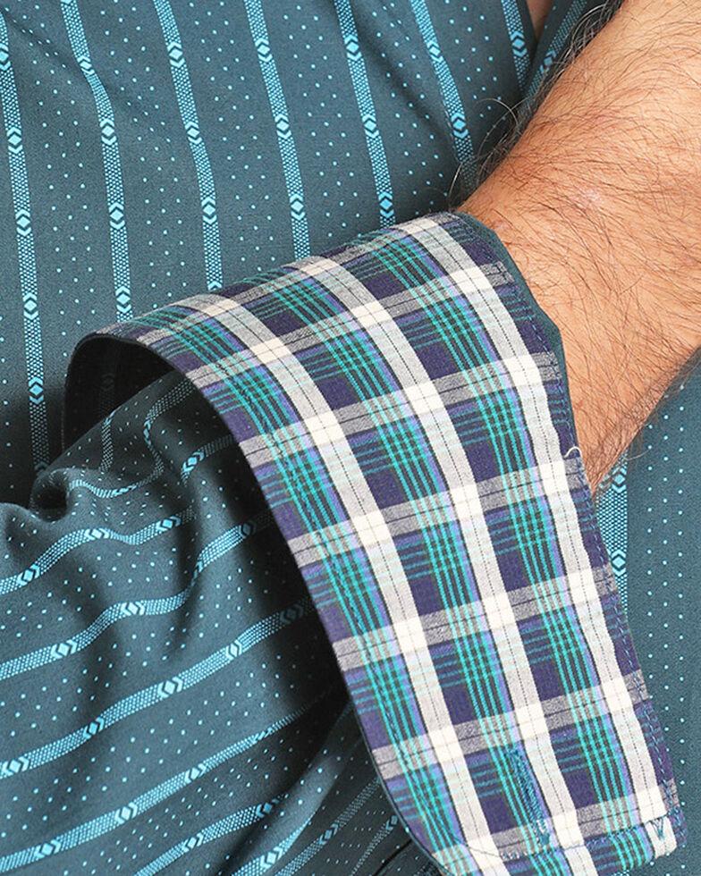 Panhandle Men's Teal Peached Poplin Print Shirt , Teal, hi-res