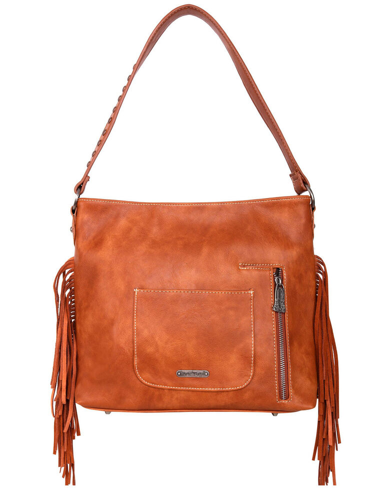 Trinity Ranch Women's Fringe Hobo Bag, Brown, hi-res