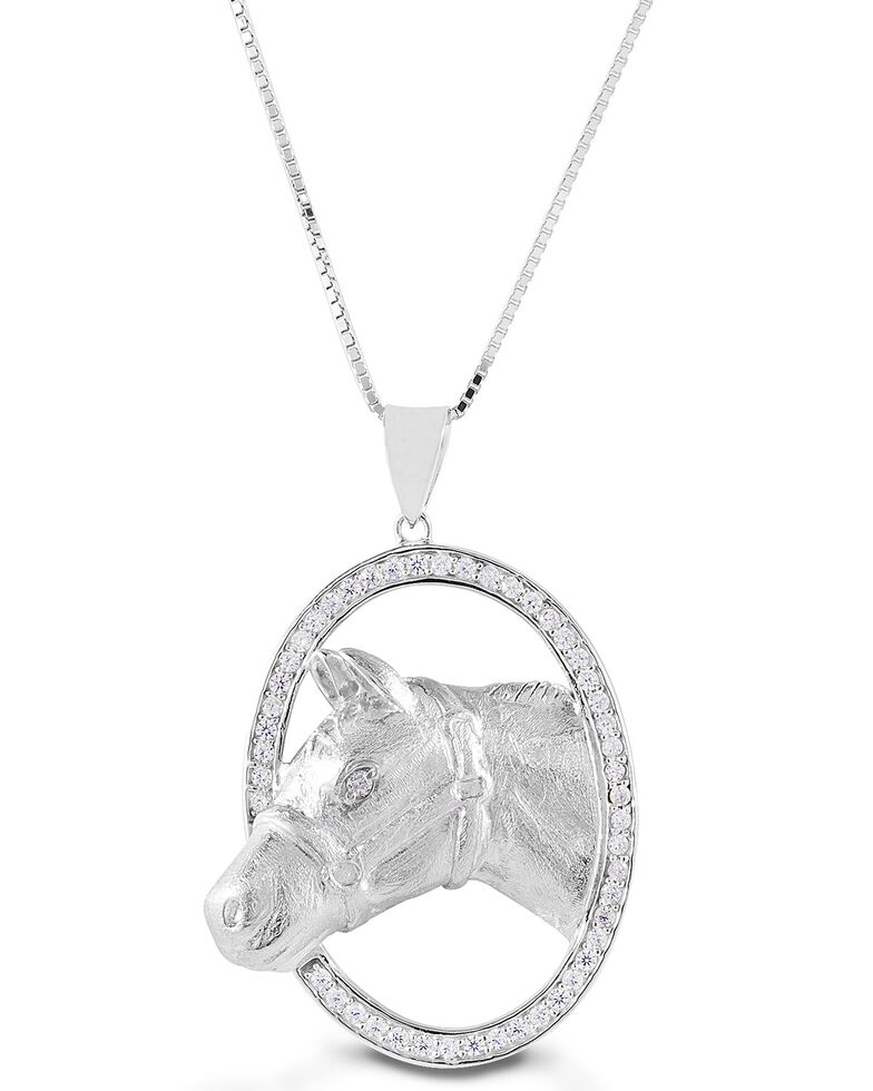 Kelly Herd Women's Oval Halter Horsehead Necklace , Silver, hi-res