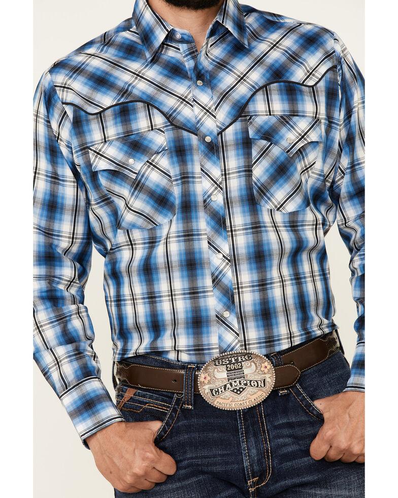 Ely Walker Men's Blue Vintage Plaid Snap Long Sleeve Western Shirt , Blue, hi-res