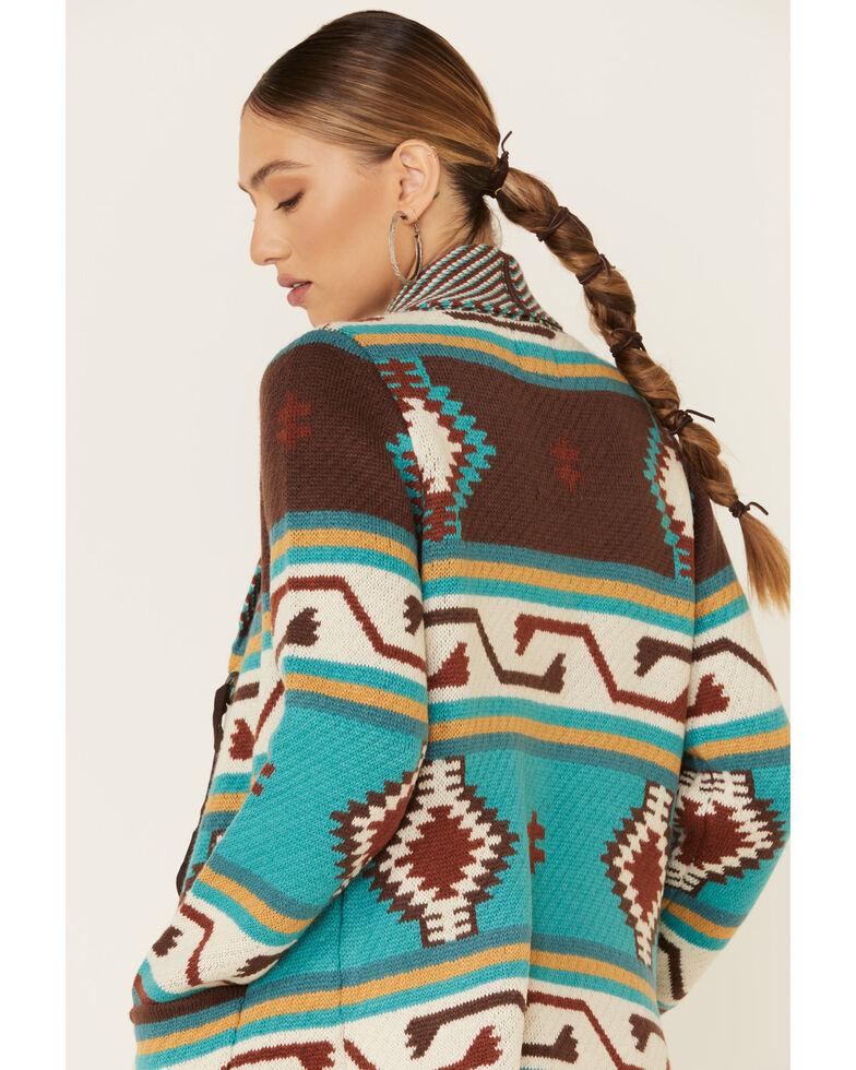 Joseph Studio Women's Teal Aztec Striped Concho Sweater, Teal, hi-res
