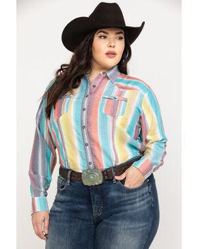 White Label by Panhandle Women's Serape Challis Button Up Long Sleeve Shirt - Plus, Multi, hi-res