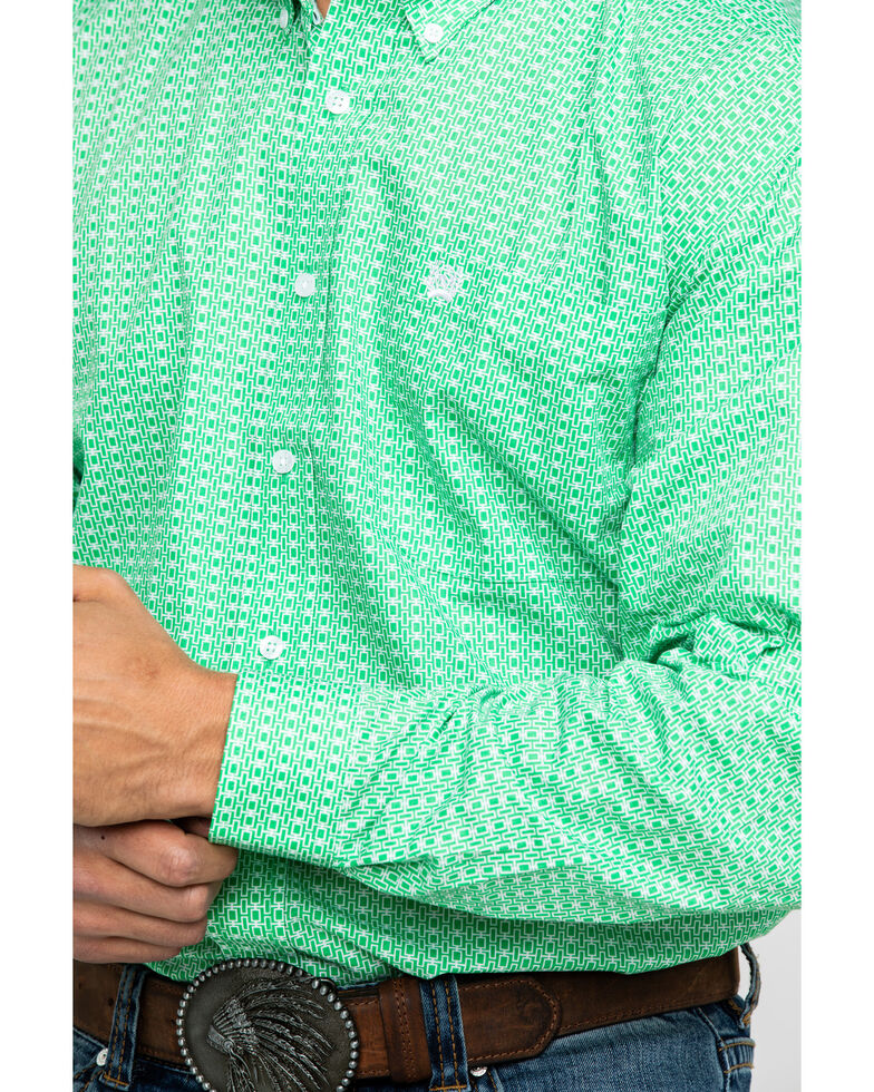 Cinch Men's Green Geo Print Weave Long Sleeve Western Shirt , Green, hi-res