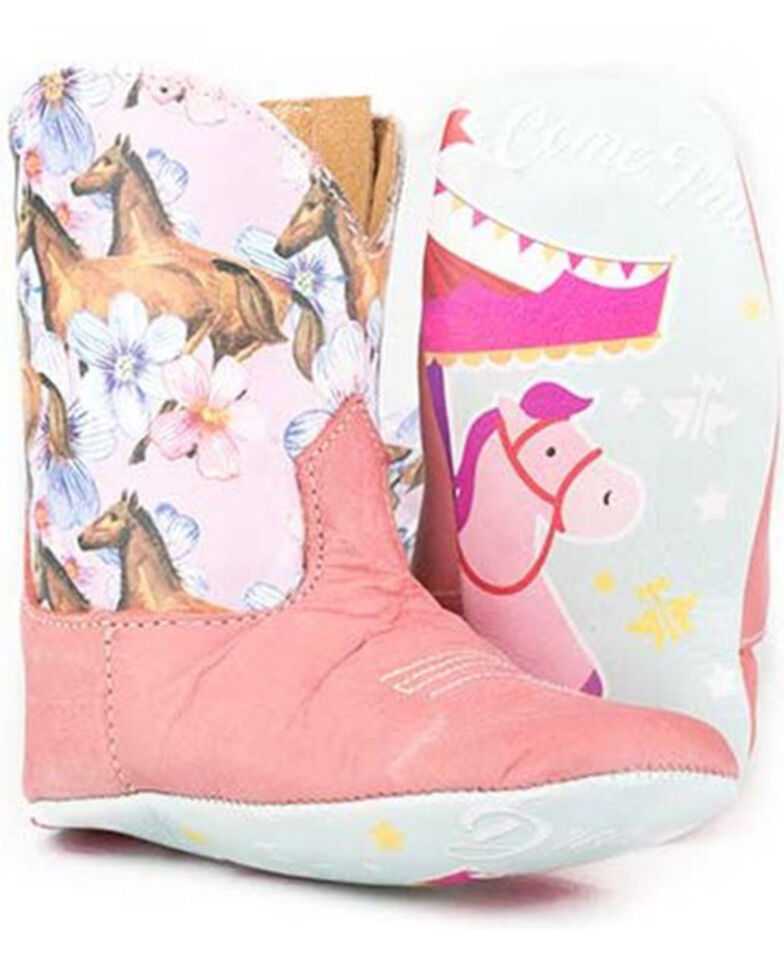 Tin Haul Infant Girls' Lil Chestnut & Daisy Poppet Boots - Square Toe, Tan, hi-res