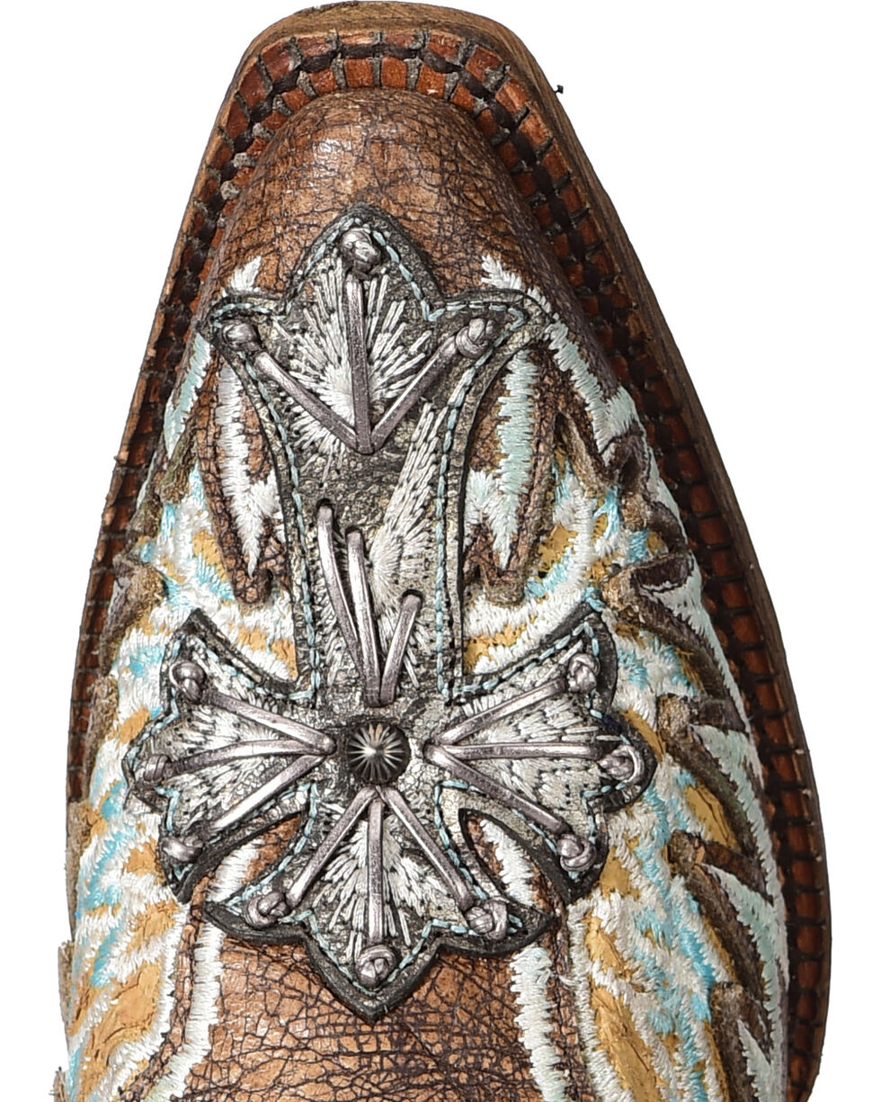 Corral Women's Chocolate Wings & Cross Inlay Cowgirl Boots - Snip Toe, Tan, hi-res