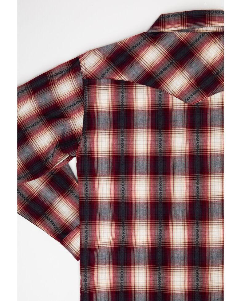 Roper Boys' Red Rock Dobby Plaid Long Sleeve Western Shirt , Red, hi-res