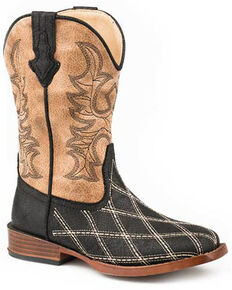 Roper Youth Boys' White Embroidery Foot Western Boots - Square Toe, Black, hi-res