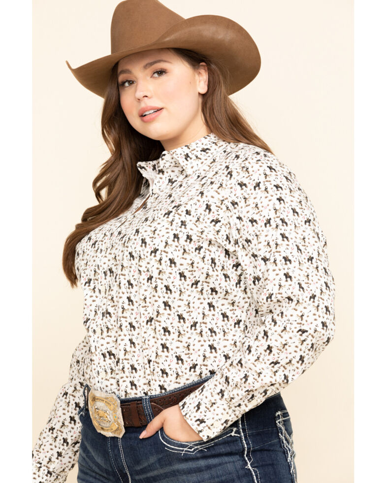 Ariat Women's Kirby Pasture Print Stretch Long Sleeve Shirt - Plus, White, hi-res