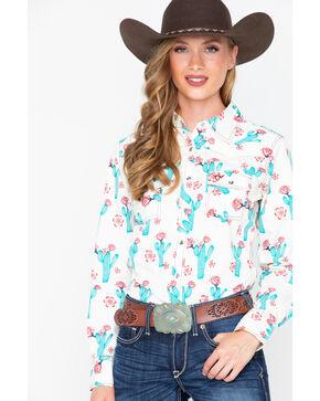 Cowboy Hardware Women's Cactus Bloom Long Sleeve Western Shirt, Ivory, hi-res