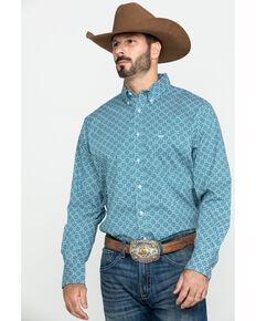 Wrangler 20X Men's Advanced Comfort Performance Teal Geo Print Long Sleeve Western Shirt , Teal, hi-res