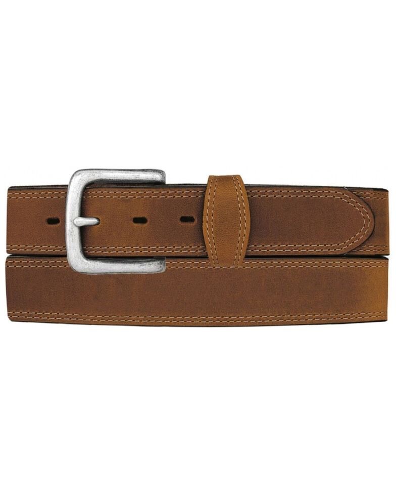 Tony Lama Men's Basic Double Stitch Belt, Brown, hi-res