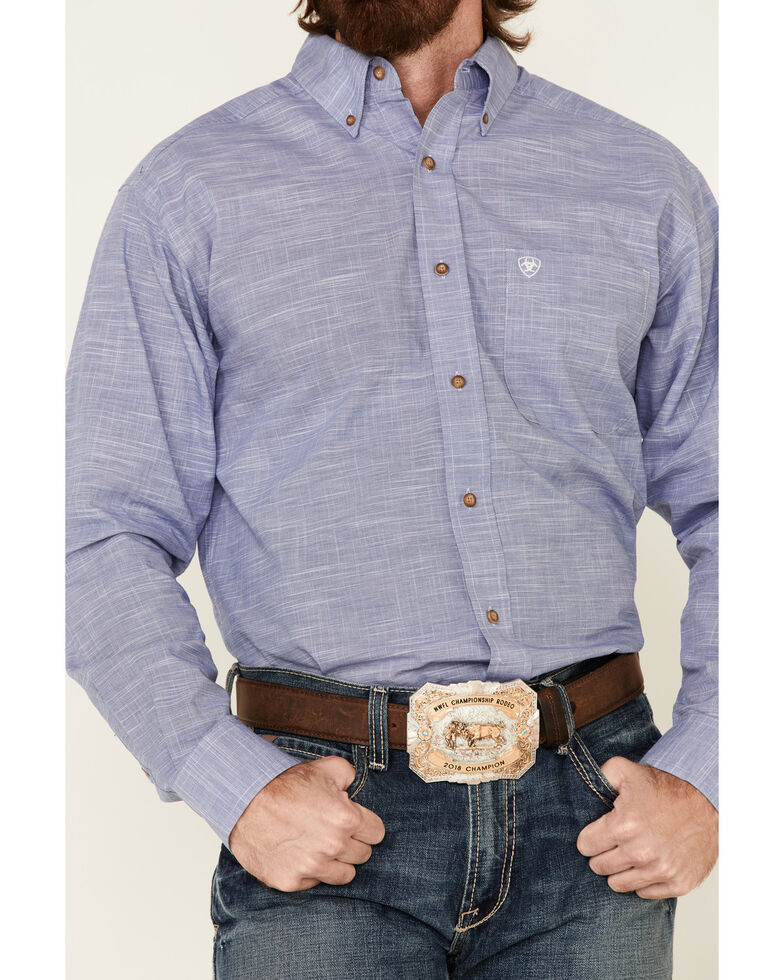Ariat Men's Solid Blue Slub Button Long Sleeve Western Shirt - Tall , Blue, hi-res