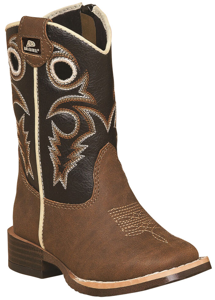 Double Barrel Toddler Boys' Brown Trace Zipper Cowboy Boots - Square Toe , Brown, hi-res